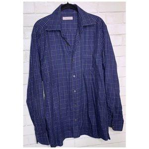 ERMENEGILDO ZEGNA | Blue Plaid Mens Button Shirt